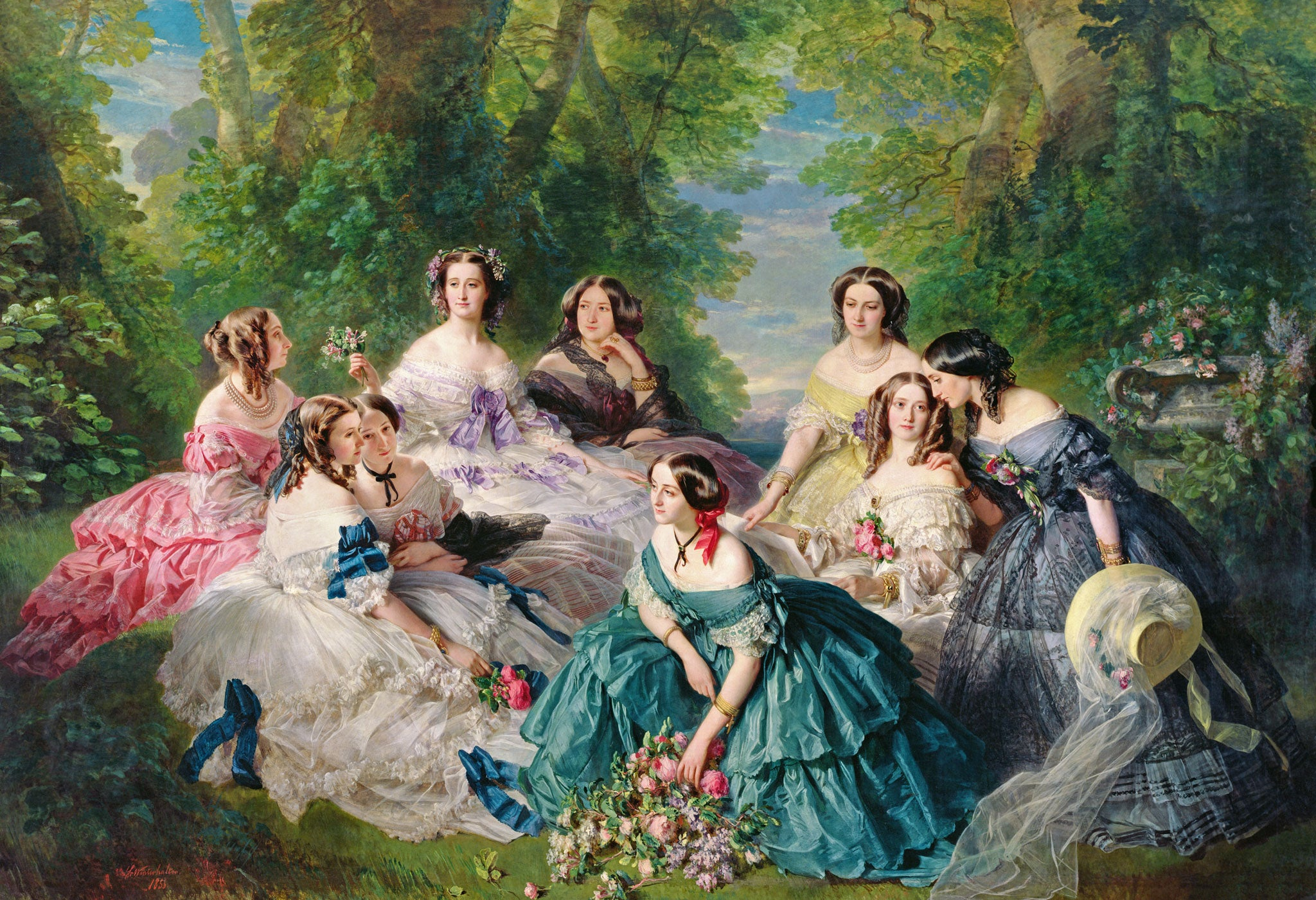 a Franz Xaver Winterhalter painting : Empress Eugénie Surrounded By Her Ladies In Waiting