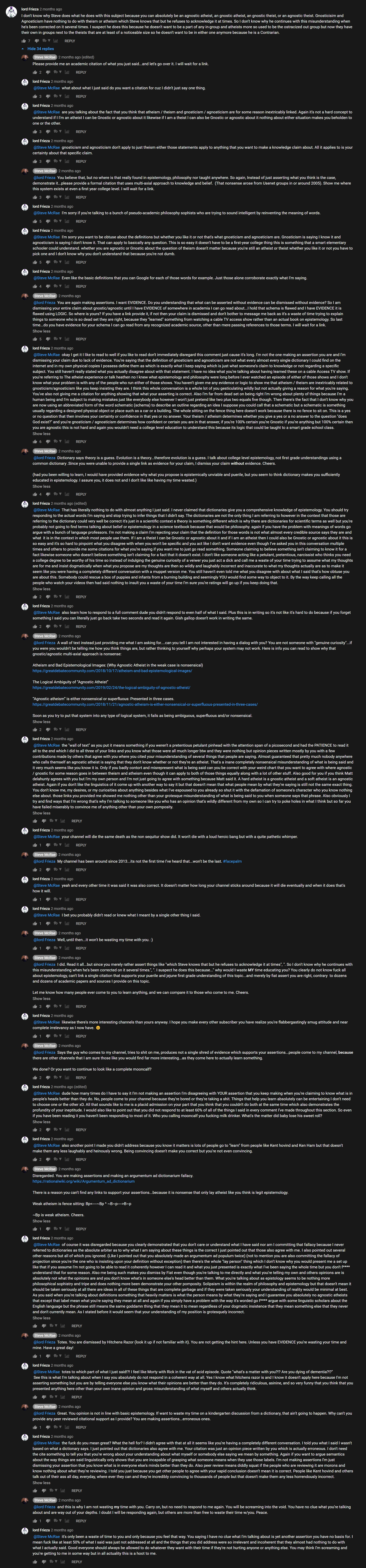 YouTubers lord Frieza and Steve McRae arguing about atheism and agnosticism