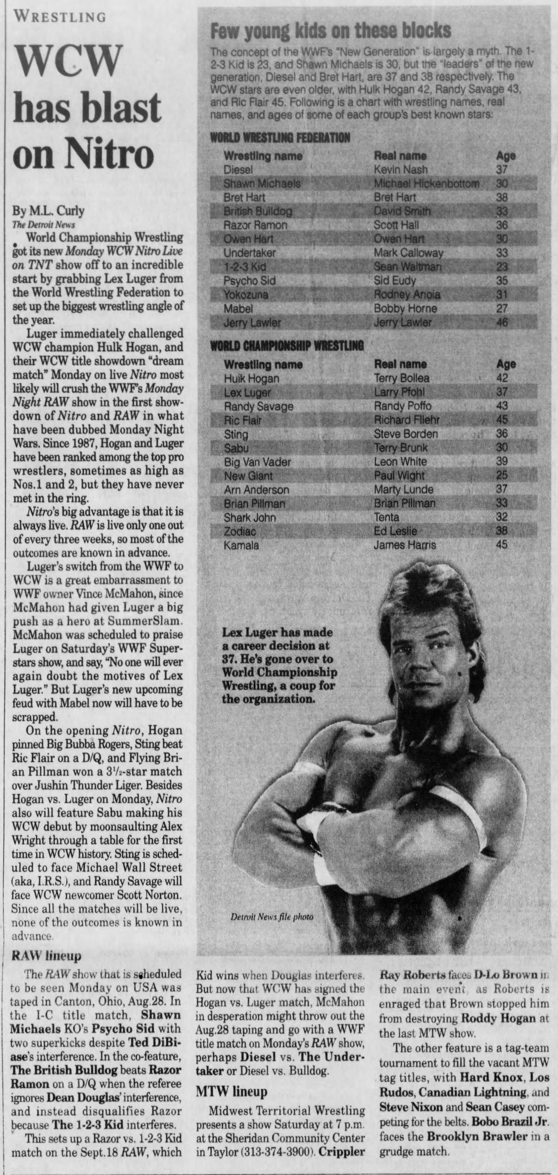 an ML Curly Wrestling article from The Detroit News [ 1995 September 08 ]