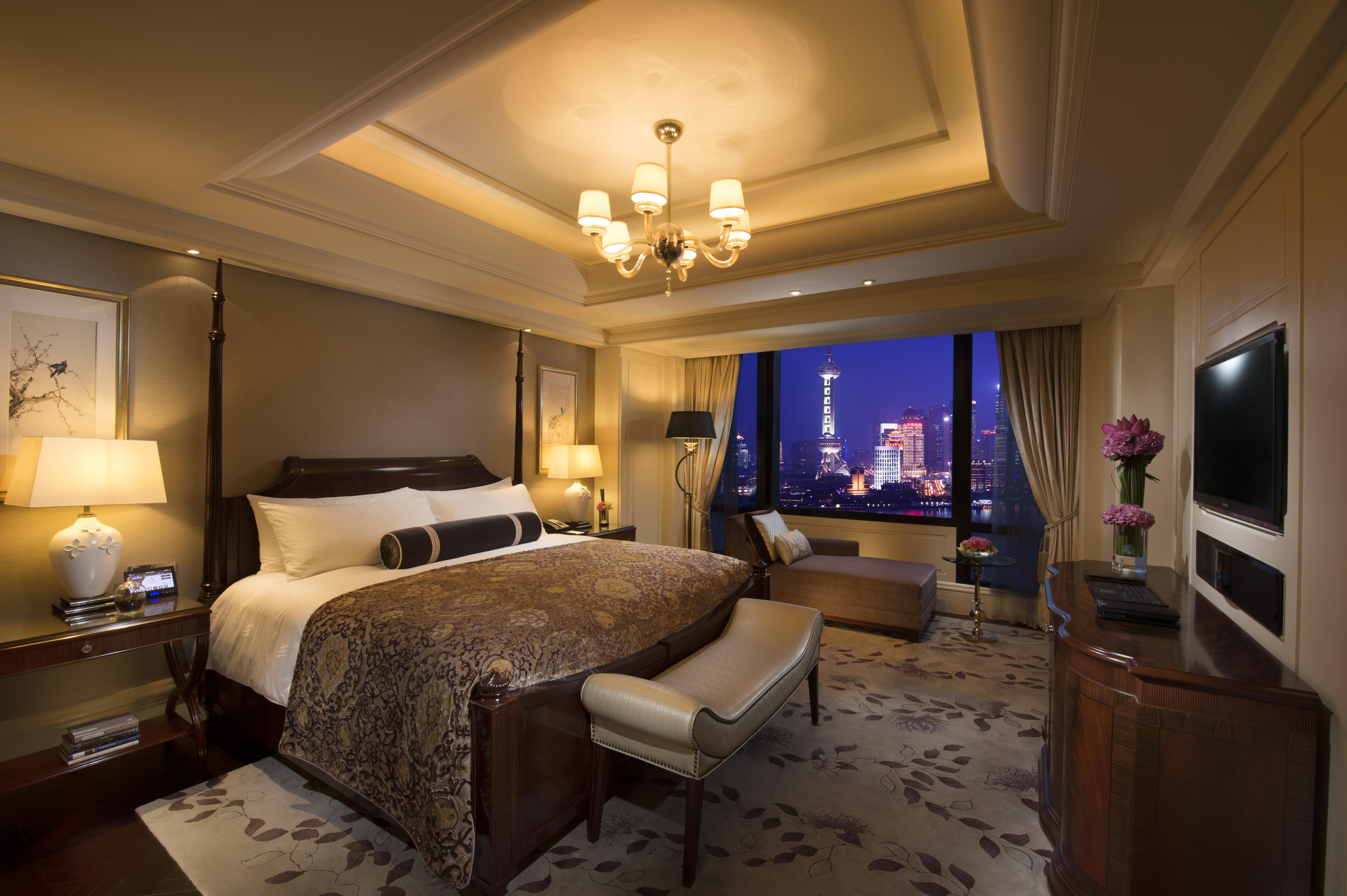 the bedroom of The Presidential Suite at Waldorf Astoria in Shanghai
