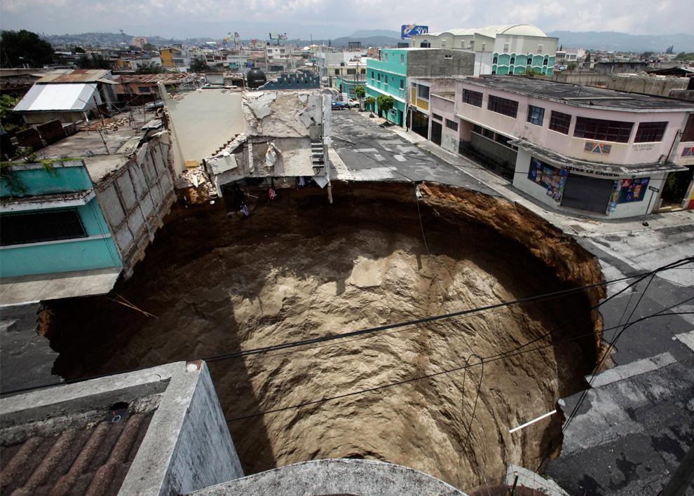 a sinkhole in Guatemala City