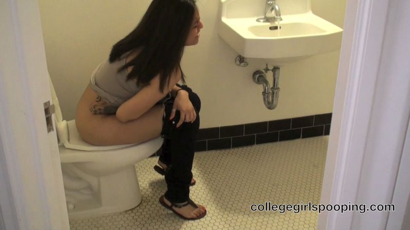 a college girl named Salena pooping in a toilet