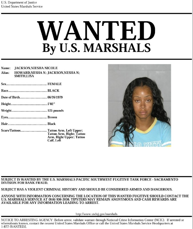 a US Marshals Wanted poster for Niesha Nicole Jackson
