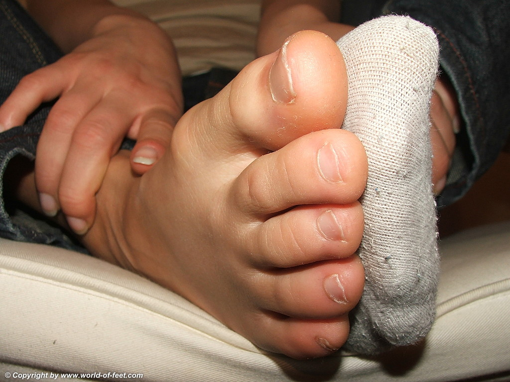 a girl showing her toes