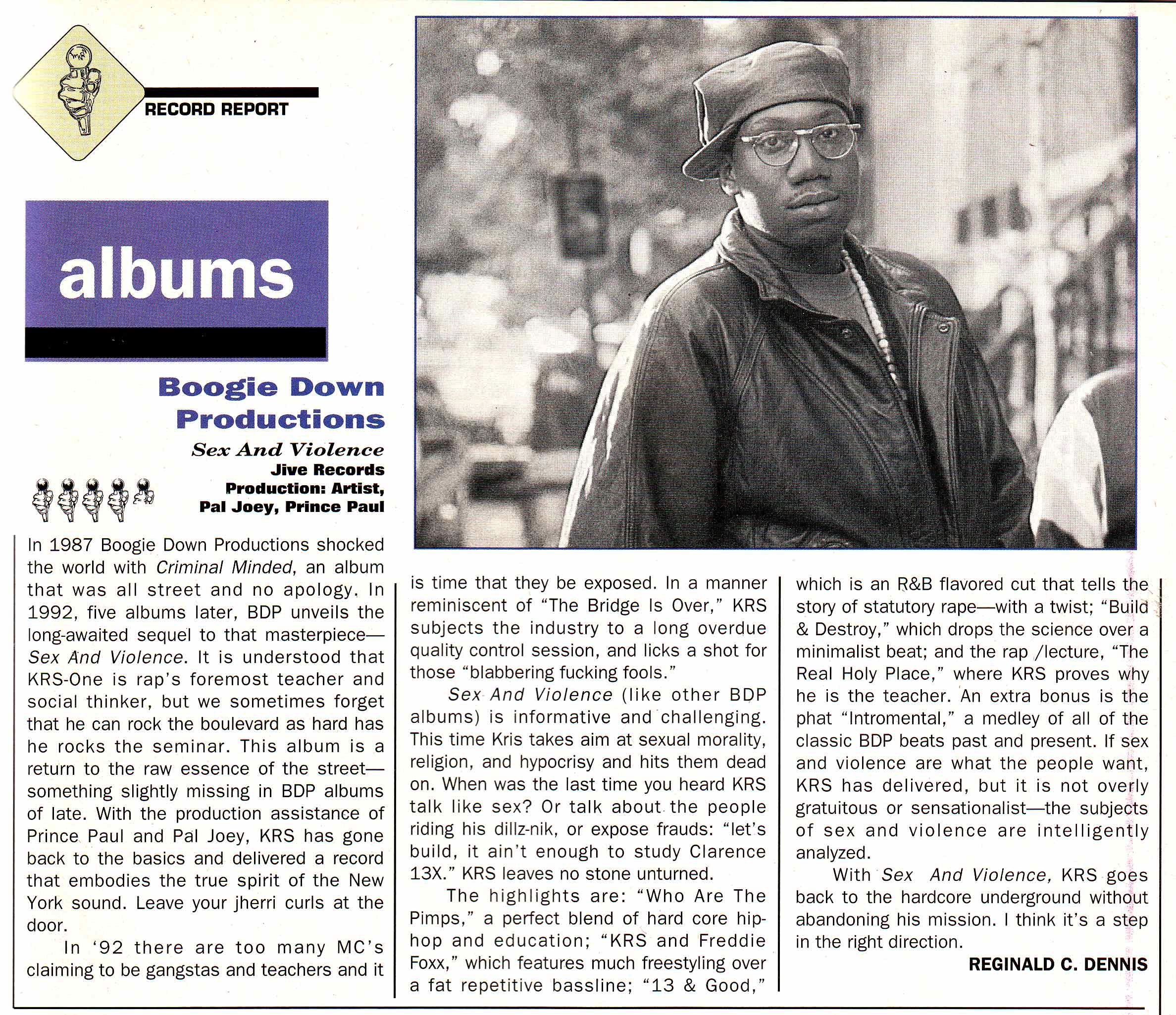 Source Magazine's review of the Boogie Down Productions Sex And Violence album