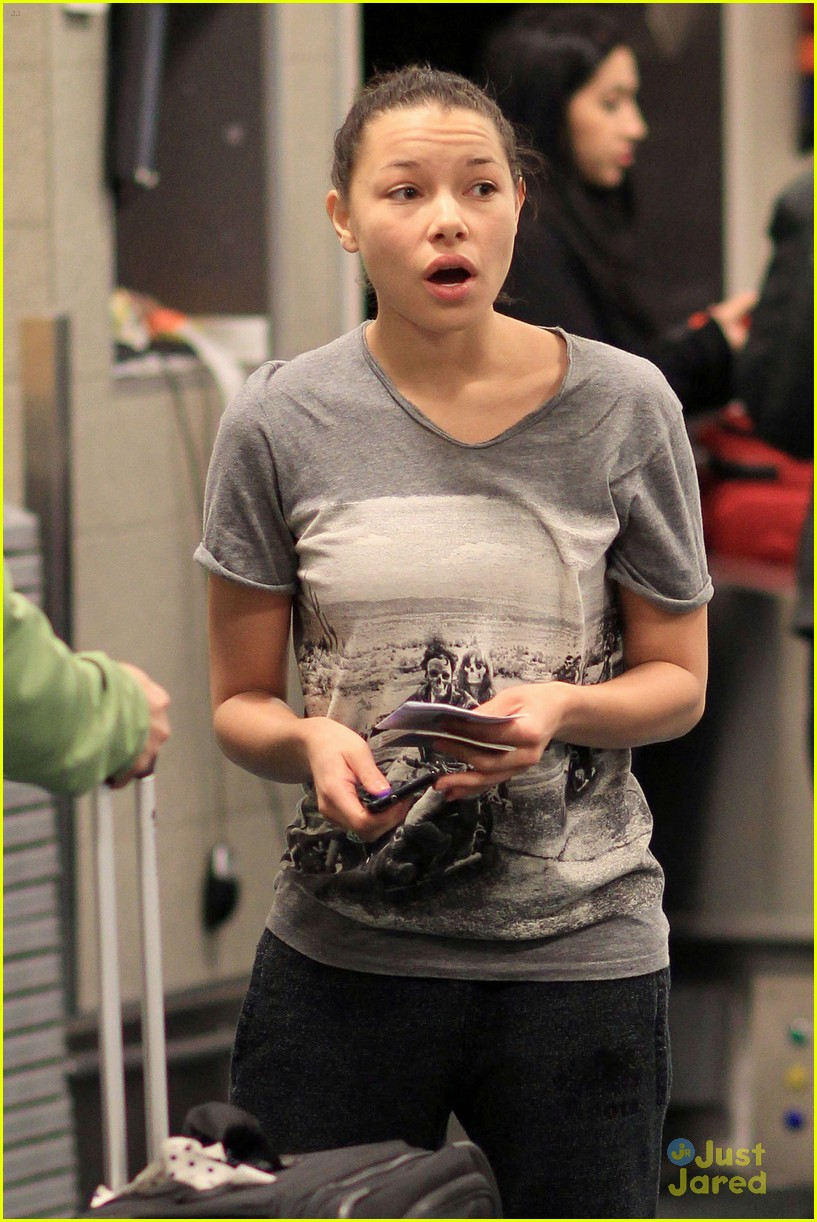 Jessica Parker Kennedy at the Vancouver International Airport