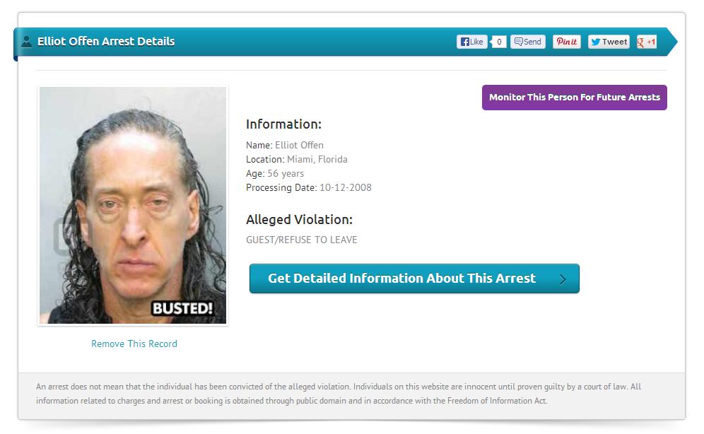 Elliot Offen arrest details from 2008