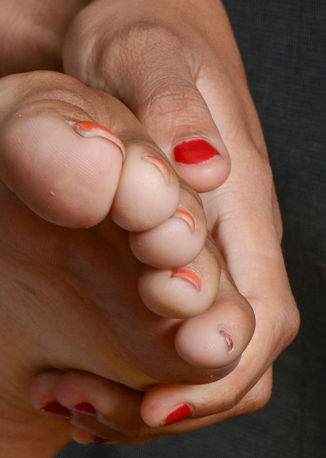 a girl named Island showing her toes