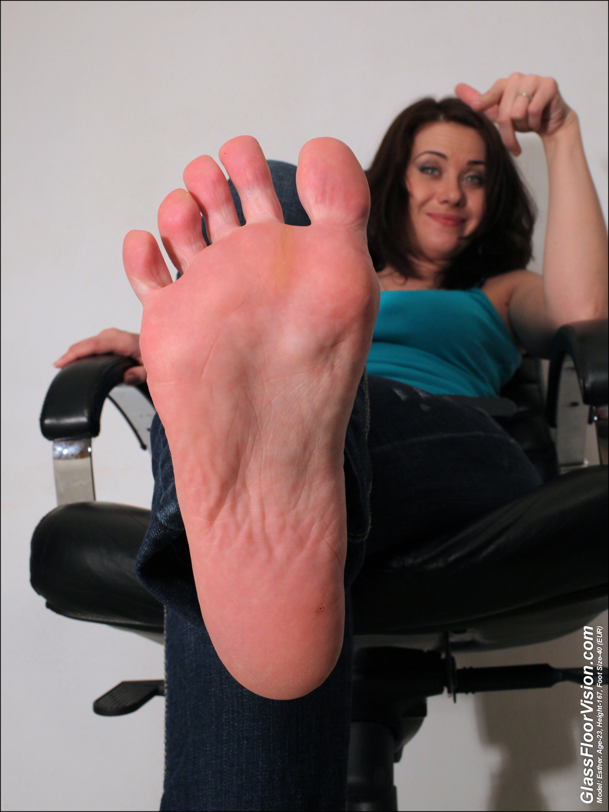 a girl named Esther showing her foot