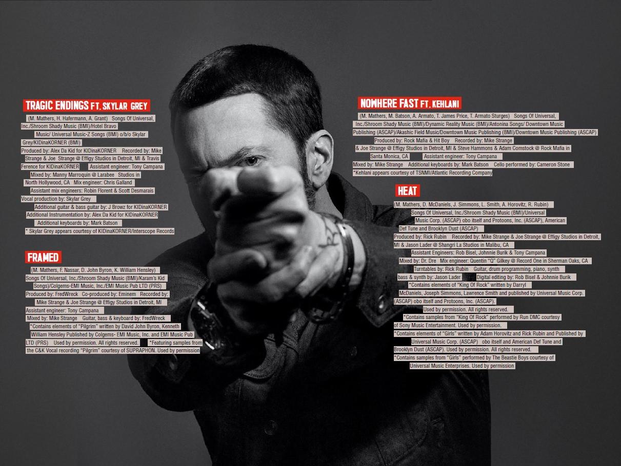 the credits to Eminem's Revival album