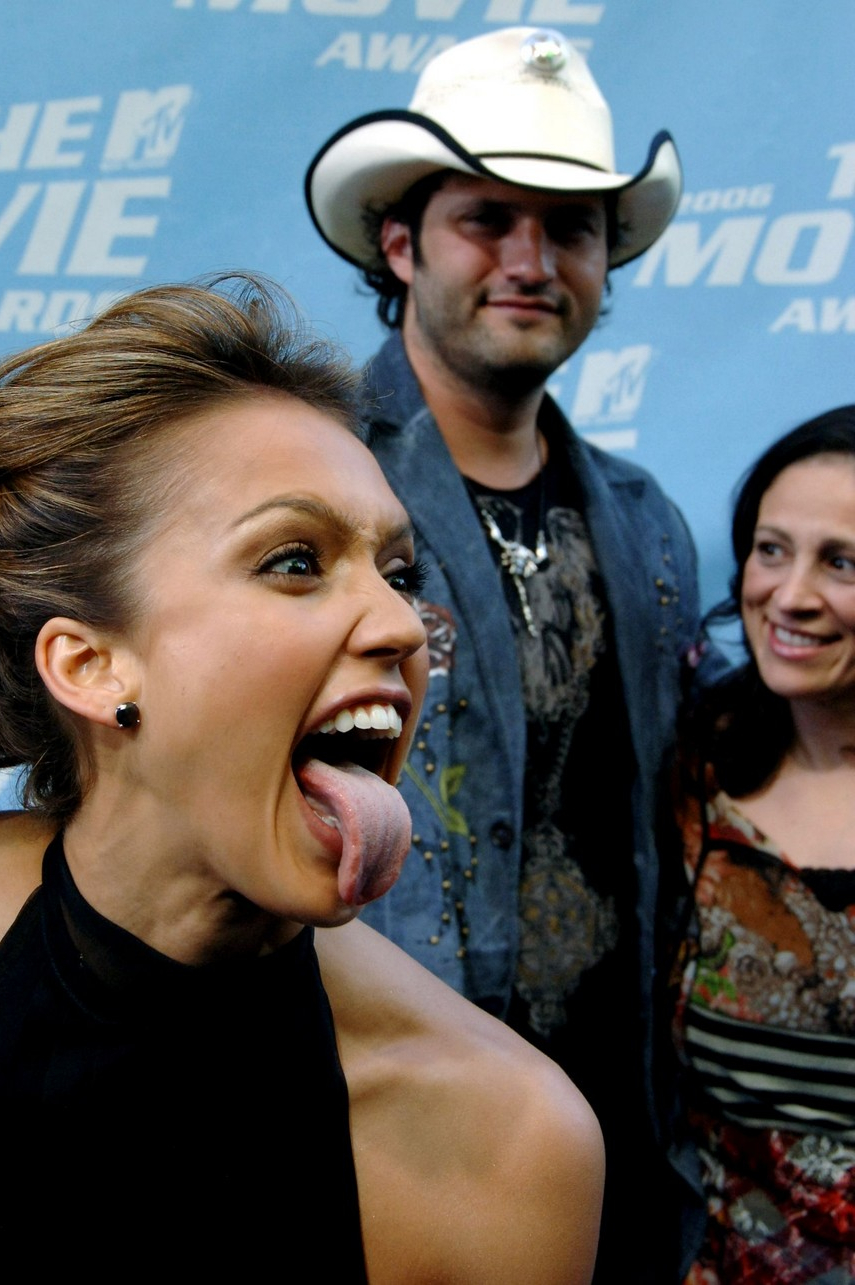 Jessica Alba showing her tongue