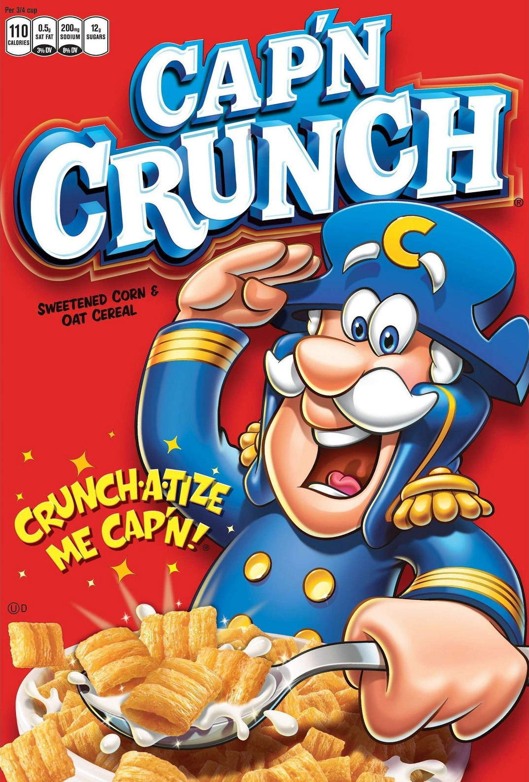 the front of a box of Cap'n Crunch