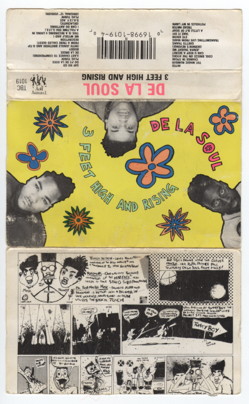 the paper sleeve for De La Soul's 3 Feet High And Rising album on cassette