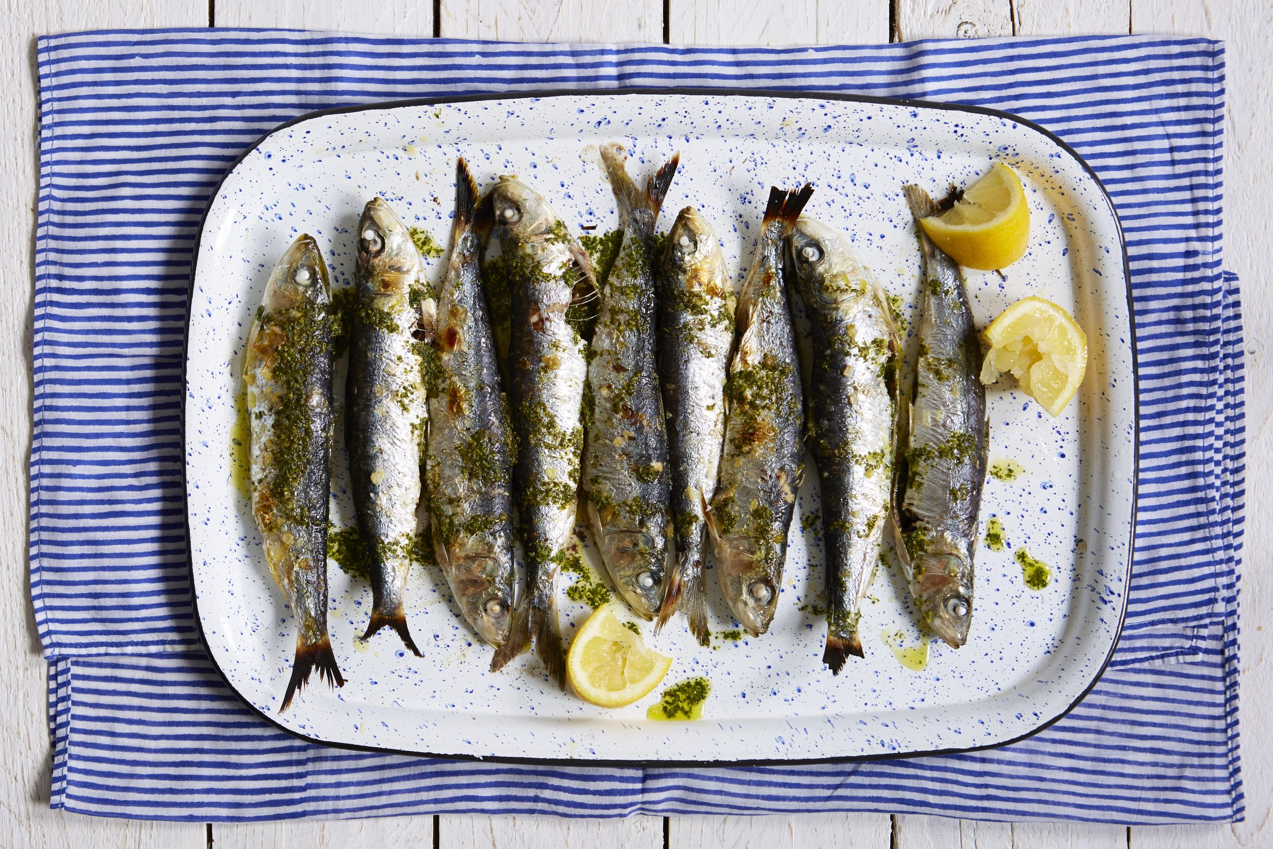 grilled sardines with lemon and herb sauce