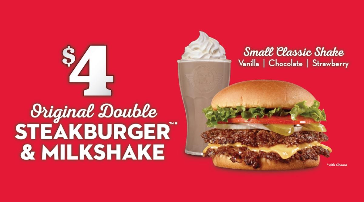 promo : an Original Double Steakburger and Milkshake for $4 at Steak N Shake