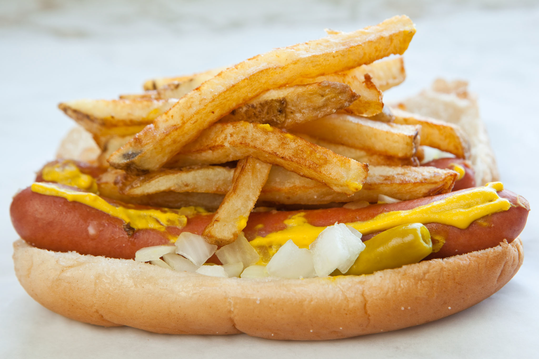 a hot dog with fries from Gene And Jude's in River Grove